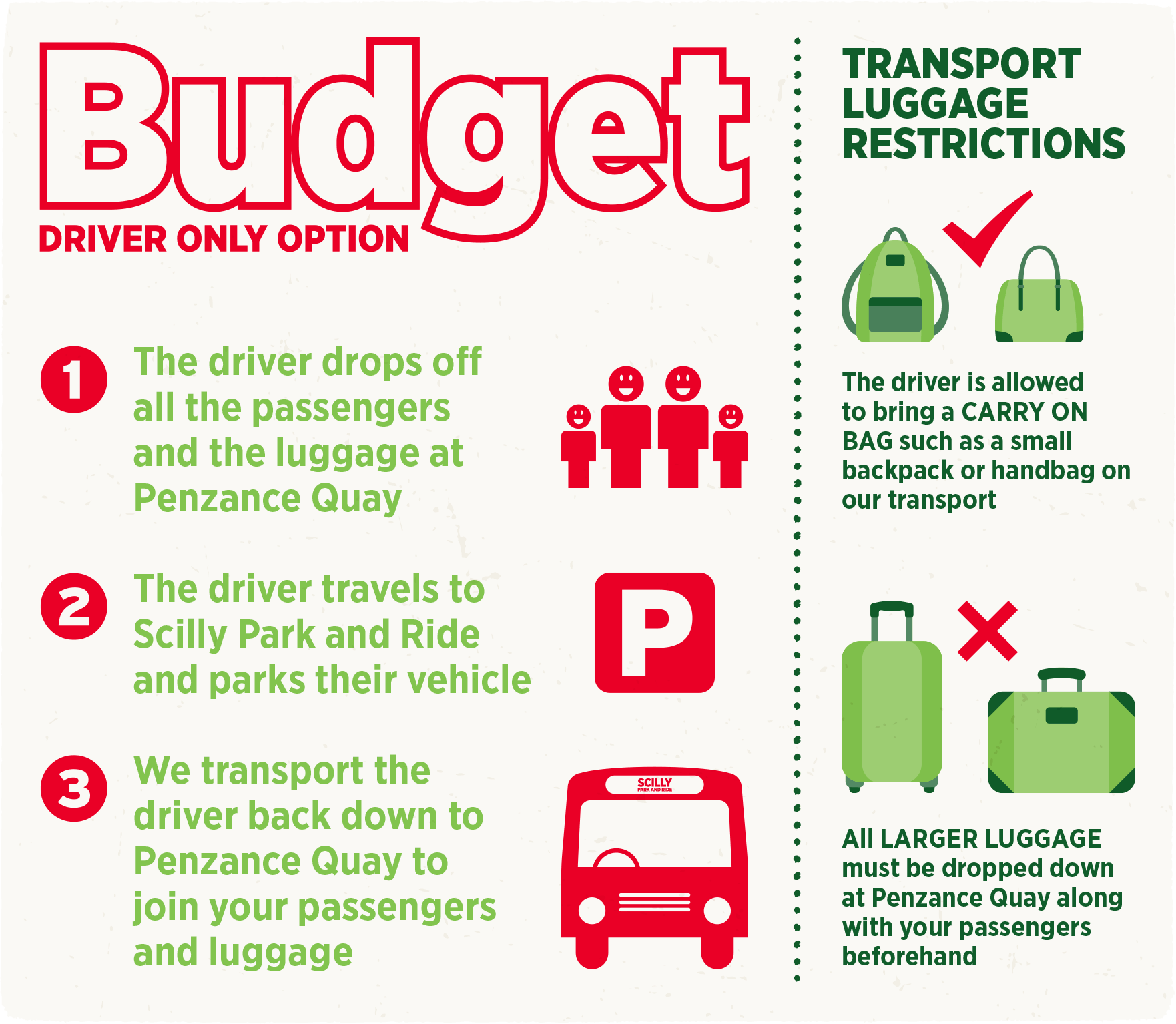 Save Money with Budget Park and Ride driver only transport option